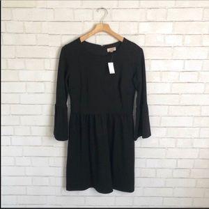 NWT Loft Bell Sleeve Sheath Black Dress